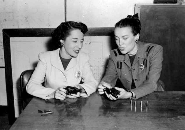 "Alice (left) Joan (right) in ""uniform"""