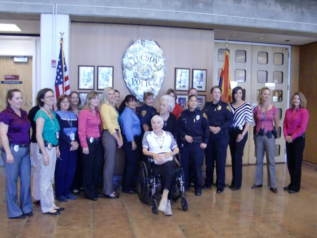 Joan (seated), Alice (standing) and Tucson PD